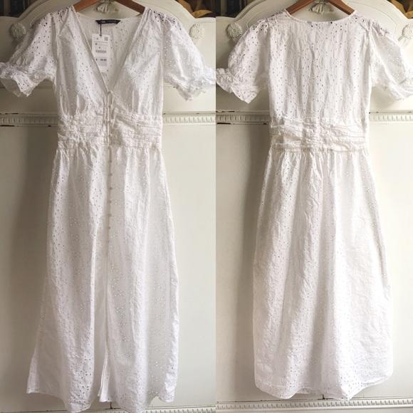 e62bc9fe NWT White Eyelet Cotton Zara M Dress NWT